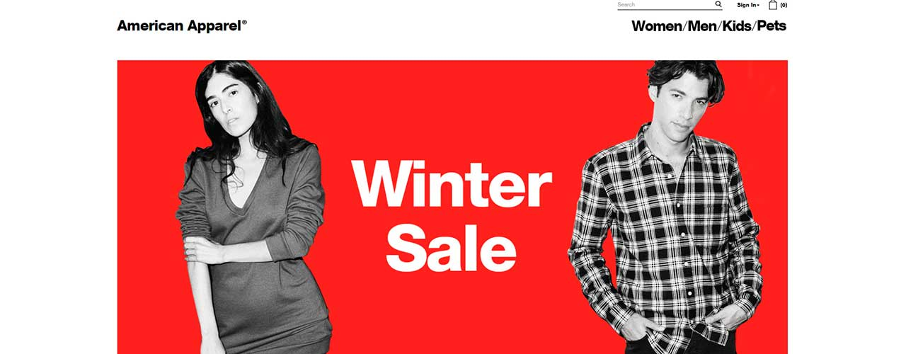 Extract product and price information from American Apparel online store