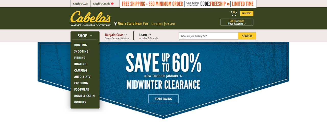 Free web scraper for Cabela's to extract data about products