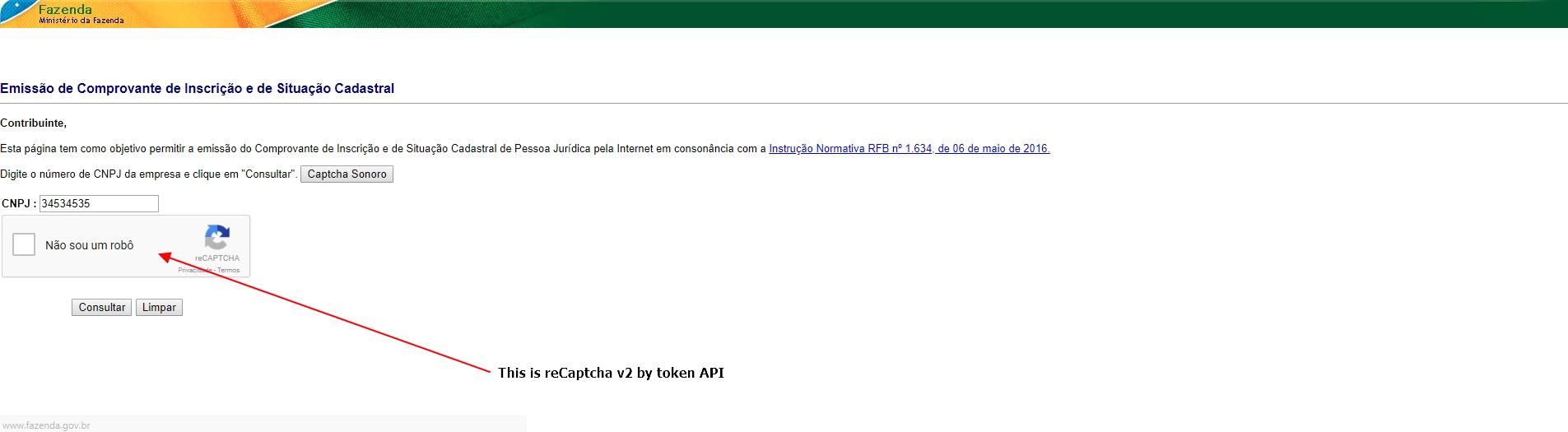Bypass catcha: intentifying reCaptcha v2 by token API