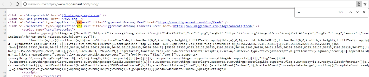 Make a web scraper yourself: searching RSS feed in the page source