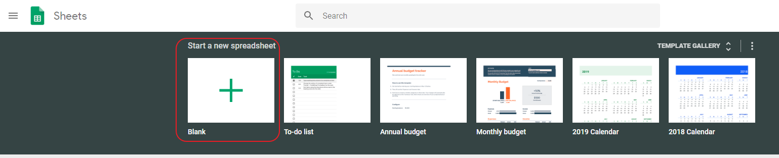 Create a new file in Google Spreadsheet.