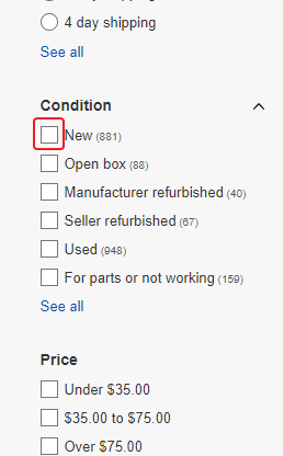 eBay - select only new products